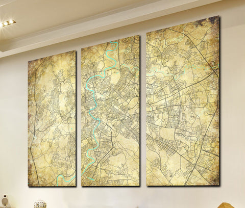 Rome Street Map 3 Panel Canvas Wall Map