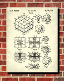 Rubiks Cube Patent Print Puzzle Blueprint Games Poster - OnTrendAndFab