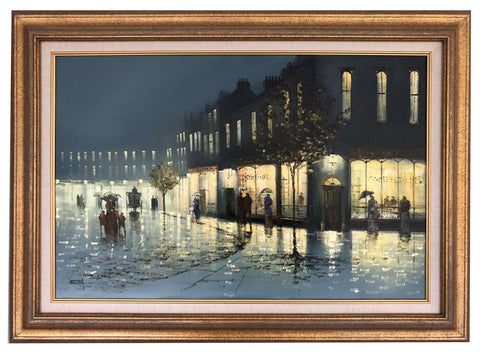 Victorian Night Street Scene Oil painting Framed
