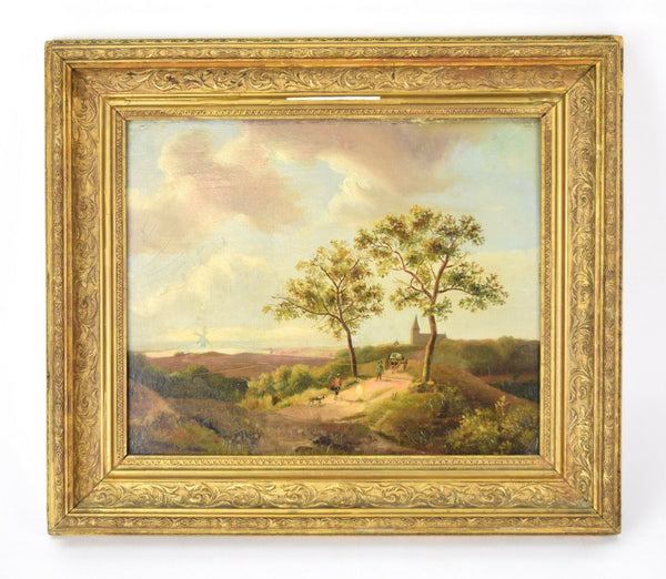 Dutch Landscape 19th Century Oil Painting Framed