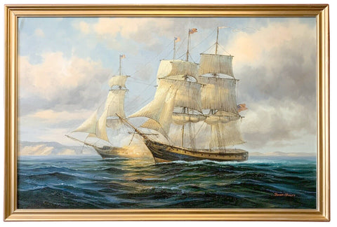 Large American Sailing Ship Maritime Seascape Oil Painting Signed Framed