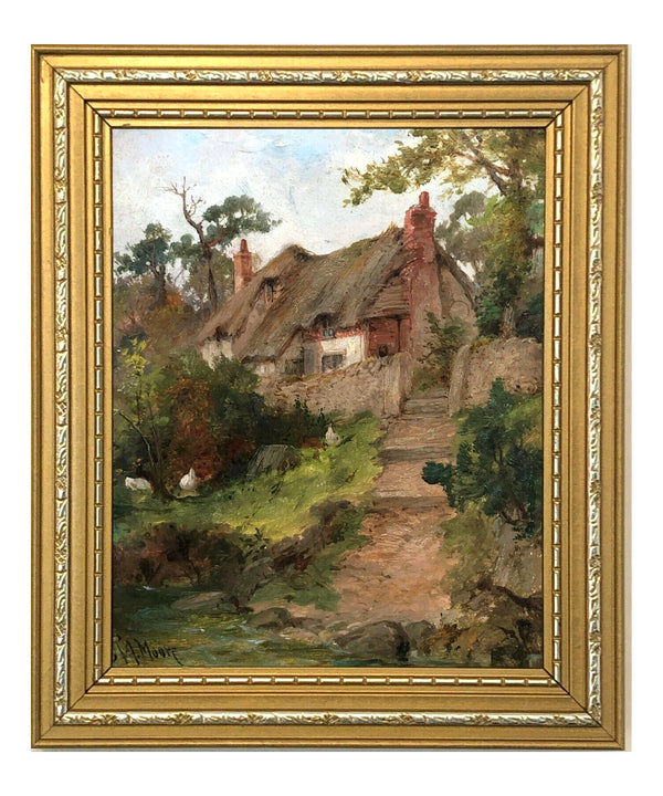 Thatched Cottage English Country Landscape Oil Painting Framed