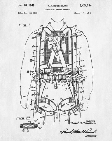 Safety Harness Patent Print Workshop Blueprint Poster