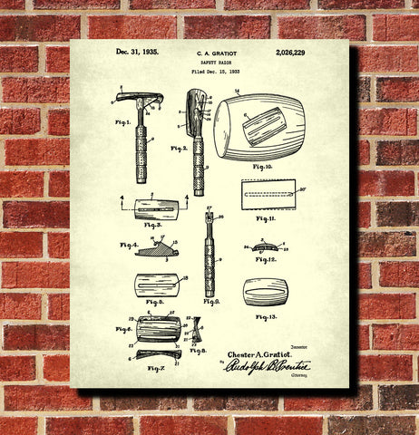 Safety Razor Patent Print Bathroom Barbershop Wall Art Poster