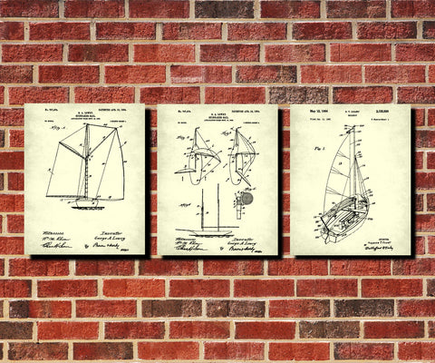 Sailing Patent Prints Set 3 Nautical Art Sail Boat Posters