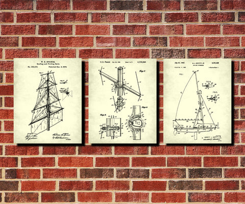 Sailing Patents Set 3 Nautical Art Prints Sail Boat Posters