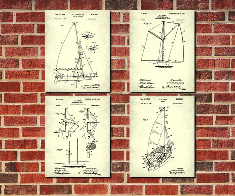 Sailing Posters Set 4 Nautical Art Prints Sail Boat Patents