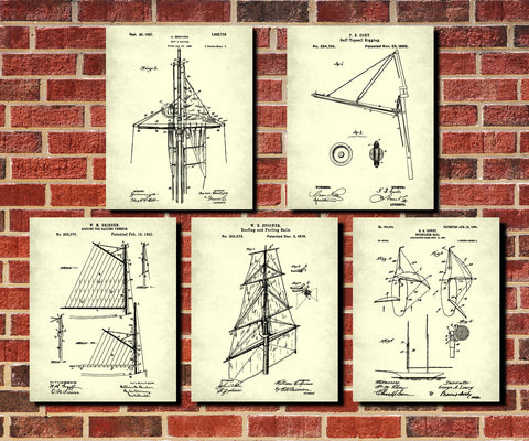 Sailing Patent Prints Set 5 Sail Rigging Posters Sailor Gift