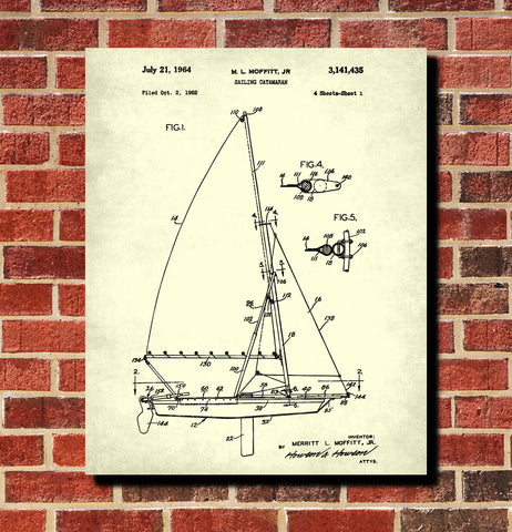 Sailing Catamaran Print Nautical Poster Sail Boat Patent Art