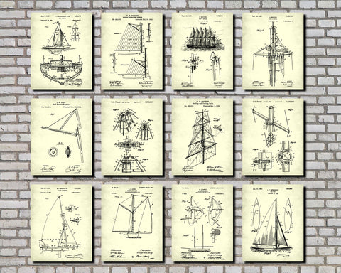 Sailing Posters Set 12 Sail Boat Patents Nautical Art Prints