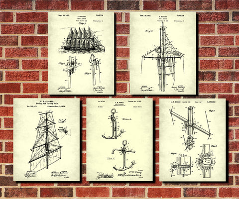 Sailing Patent Prints Set 5 Sail Boat Posters Sailor Gift