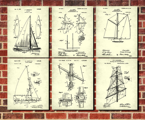 Sailing Posters Set 6 Nautical Art Prints Sail Boat Patents