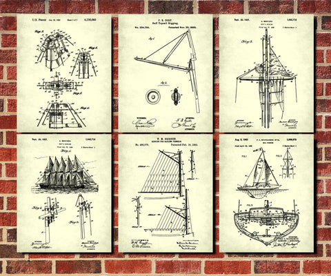 Sailing Posters Set 6 Sail Boat Patents Nautical Art Prints