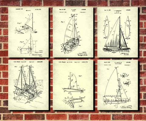 Sailing Posters Set 6 Nautical Art Sail Boat Patents Prints