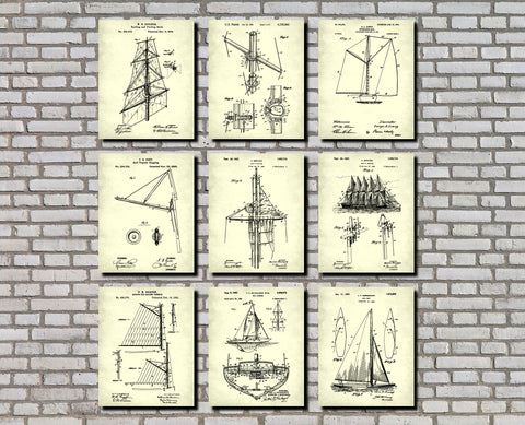 Sailing Posters Set 9 Sail Boat Patents Nautical Art Prints