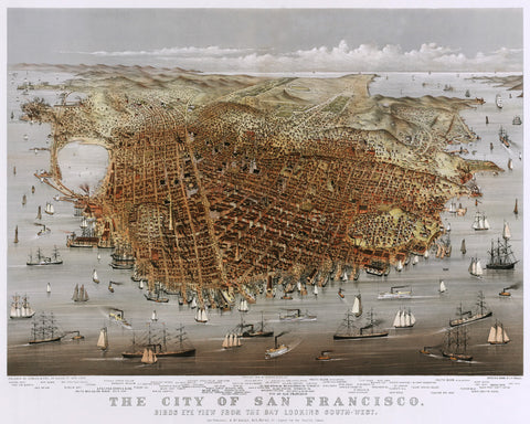 San Francisco City Street Map Print Vintage Poster Old Map as Art - OnTrendAndFab