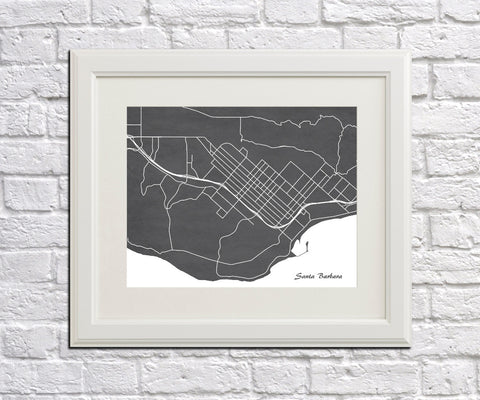 Santa Barbara City Street Map Print Modern Art Poster