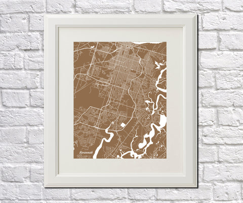 Savannah City Street Map Print Feature Wall Art Poster