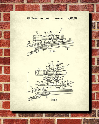 Rifle Scope Blueprint Gun Sights Patent Print Wall Art Poster - OnTrendAndFab