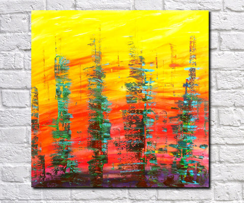Original Painting James Lucas, Scorched City Landscape Abstract