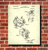 Scuba Diving Patent Print Dive Equipment Blueprint Marine Poster