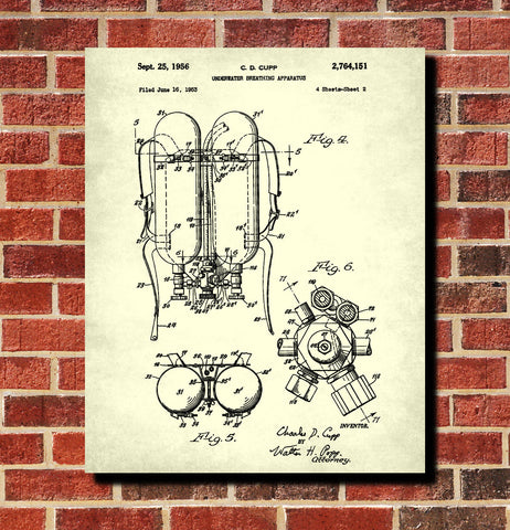 Scuba Diving Patent Print Dive Gear Blueprint Marine Poster