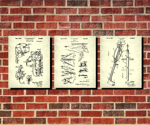 Scuba Diving Patent Prints Set 3 Dive Posters Diver Gift