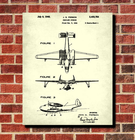 Seaplane Sponson Patent Print Flying Boat Aircraft Pilot Poster