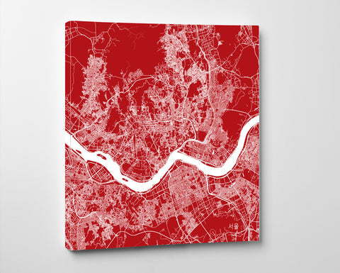 Seoul, Korea Street Map Print Custom Wall Map