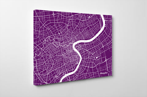 Shanghai City Street Map Print Feature Wall Art Poster