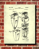 Electric Shaver Patent Print Bathroom Blueprint Shaving Poster