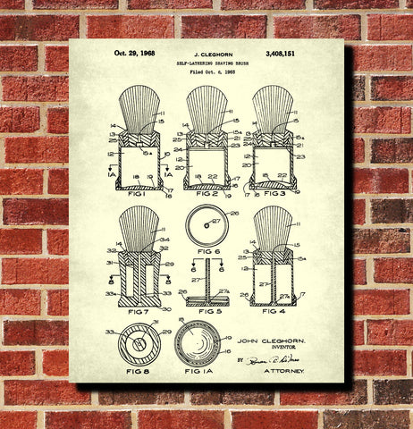 Shaving Brush Patent Print Bathroom Barber Wall Art Poster