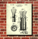 Shaving Brush Patent Print Barber Bathroom Wall Art Poster