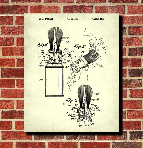Shaving Brush Patent Print Barber Wall Art Bathroom Poster