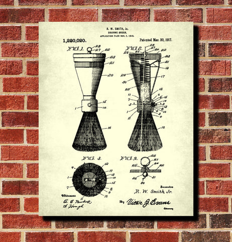 Shaving Brush Patent Print Bathroom Poster Barber Wall Art