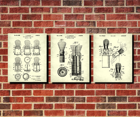 Shaving Brush Patent Prints Set 3 Bathroom Posters Barber Wall Art