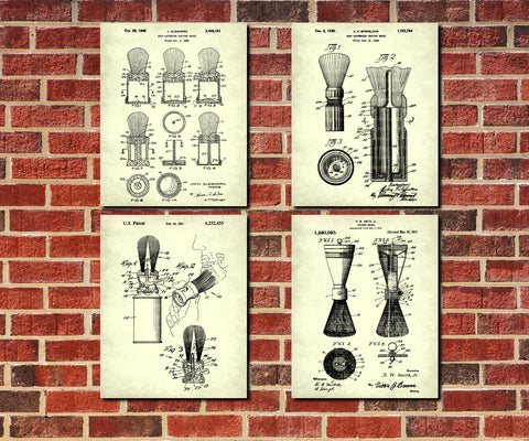 Shaving Brush Patent Prints Set 4 Barber Posters Bathroom Decor