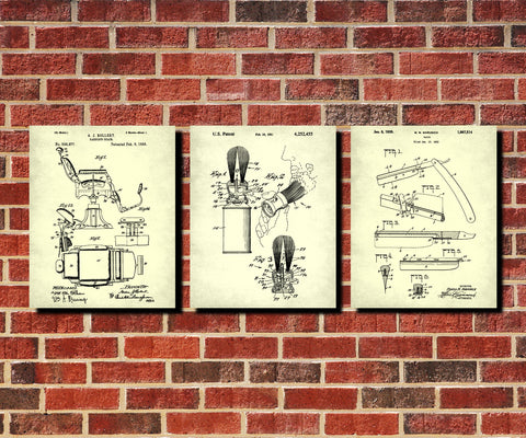 Shaving Patent Prints Set 3 Bathroom Posters Barber Wall Art