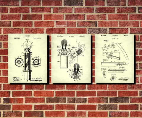 Shaving Patent Prints Set 3 Barber Posters Bathroom Wall Art