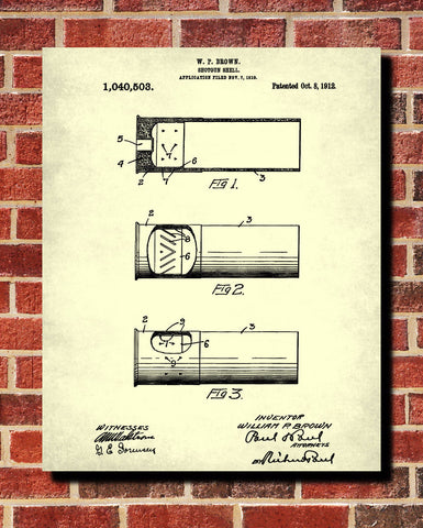 Shotgun Shell Patent Print Firearm Poster Gun Wall Art - OnTrendAndFab