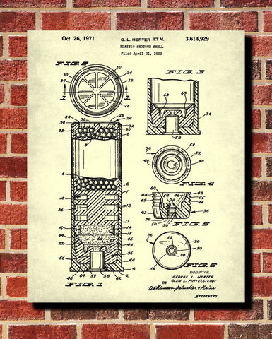 Shotgun Shell Patent Print Firearm Ammunition Poster Gun Wall Art - OnTrendAndFab