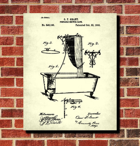 Shower Bath Patent Print Bathroom Blueprint Wall Art