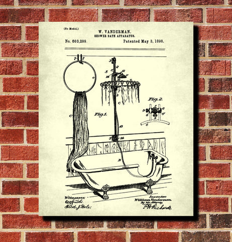 Shower Bath Patent Print Bathroom Wall Art Poster