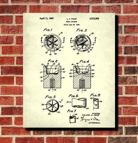 Shotgun Shell Six Point Crimper Patent Print Gun Wall Art