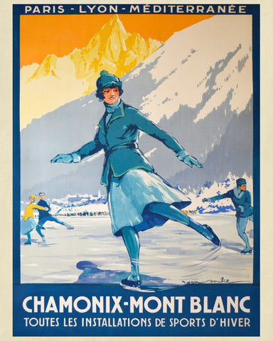 Chamonix Mont Blanc Print Vintage French Travel Poster Art