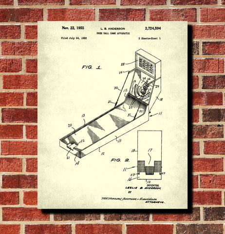 Skee Ball Machine Patent Print Bar Wall Art Man Cave Poster