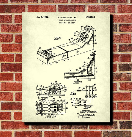 Skee Ball Machine Patent Print Bar Decor Man Cave Poster