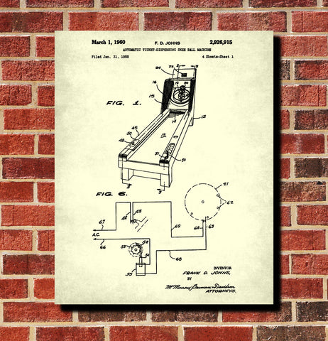Skee Ball Machine Patent Print Bar Blueprint Man Cave Poster