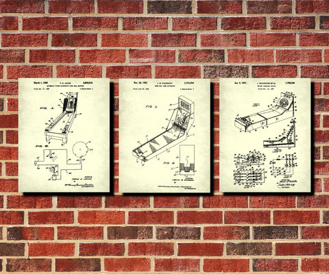 Skee Ball Machine Patent Prints Set 3 Bar Wall Art Cafe Posters