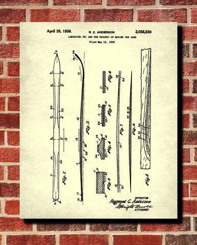 Skis Patent Print Skiing Blueprint Winter Sports Poster